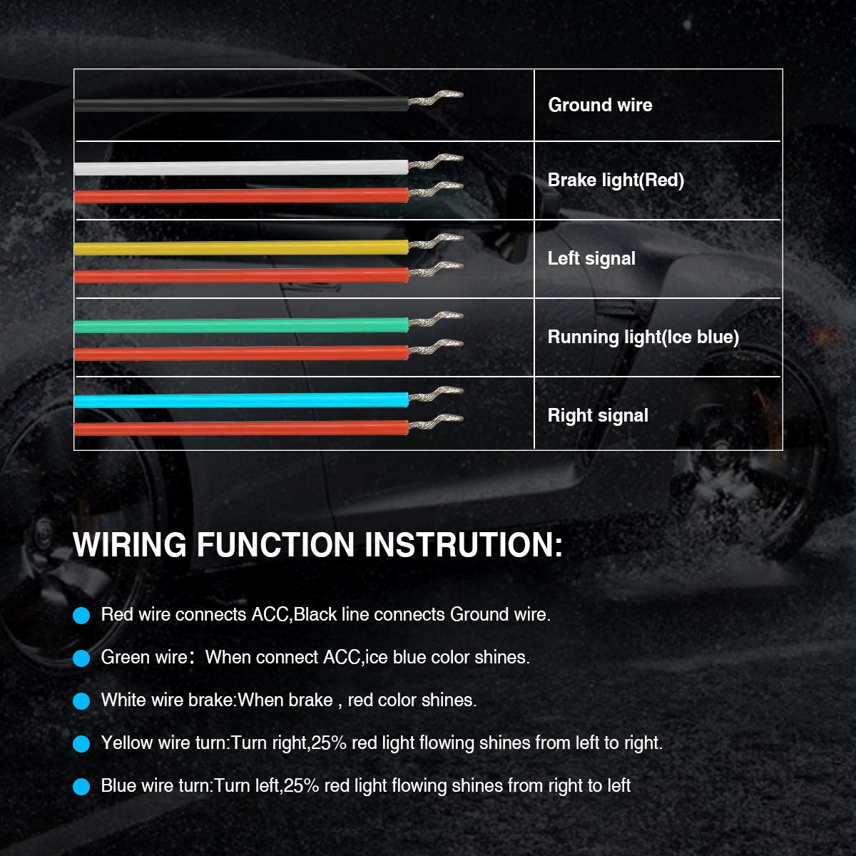 Ambother Car Tailgate Strip Light Universal Led Brake And Here Is The Wiring Diagram Using Lights For Hazard Reverse Rear Turn Signal Running Flowing Emergency Tail Bar With Dual Color