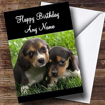 Perro Beagle Puppies tarjeta de cumpleaños texto Mum + Dad hijo Hija Grandma Grandad Nan