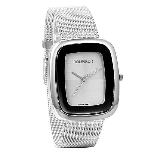 Jewelrywe Reloj de mujer plateado de cuarzo con correa de malla, pulsera de acero inoxidable, reloj cuadrado elegante para mujer, estilo casual para ...