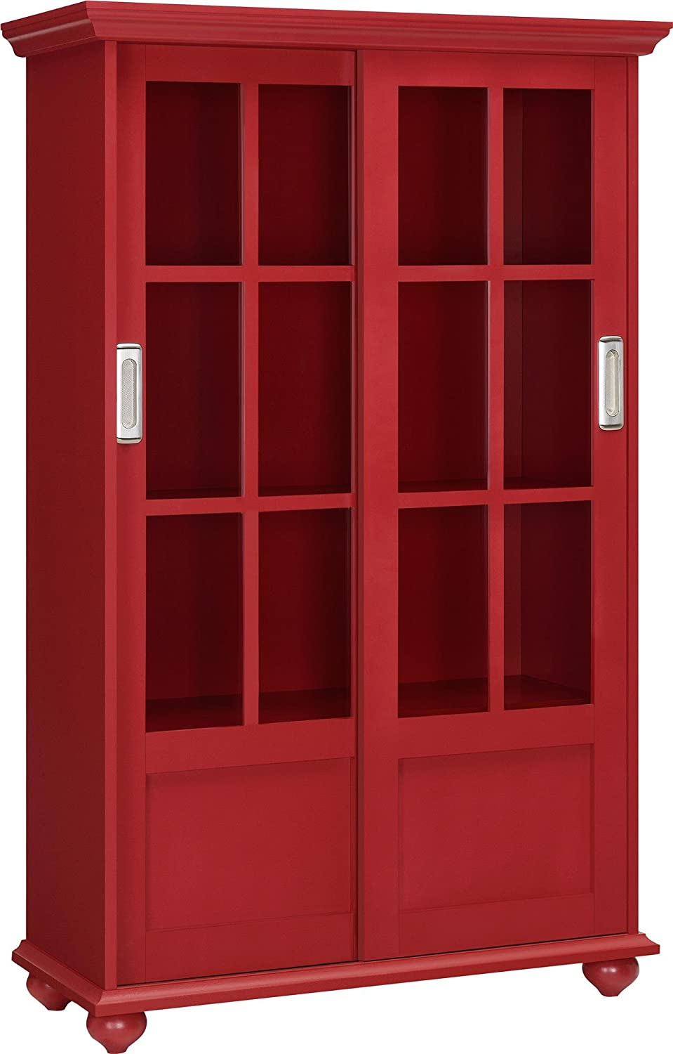 Amazon.com: Altra Aaron Lane Bookcase with Sliding Glass Doors, Red:  Kitchen & Dining
