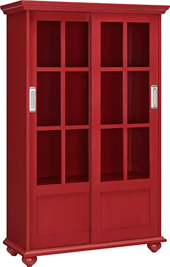 Amazon Altra Aaron Lane Bookcase With Sliding Glass Doors Red
