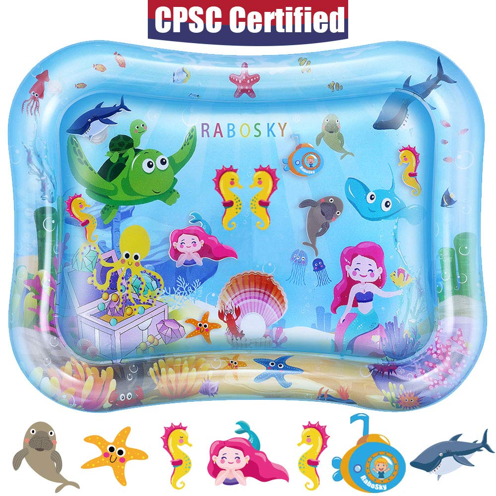 Rabosky Baby & Infant Toys Tummy Time Water Play Mat, Inflatable Sensory Newborn Toys, Perfect Baby Toy for 3 4 6 9 to 12 Months Old Boy or Girl Gift, 27.5'' x 21.5'', 7 Floating Toys [CPSC Certified]