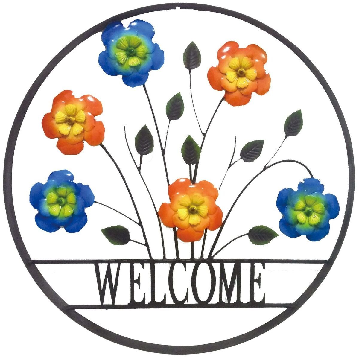 Backyard Expressions 906675 Decorative Outdoor Welcome Wheel Wall Art Sign, Floral