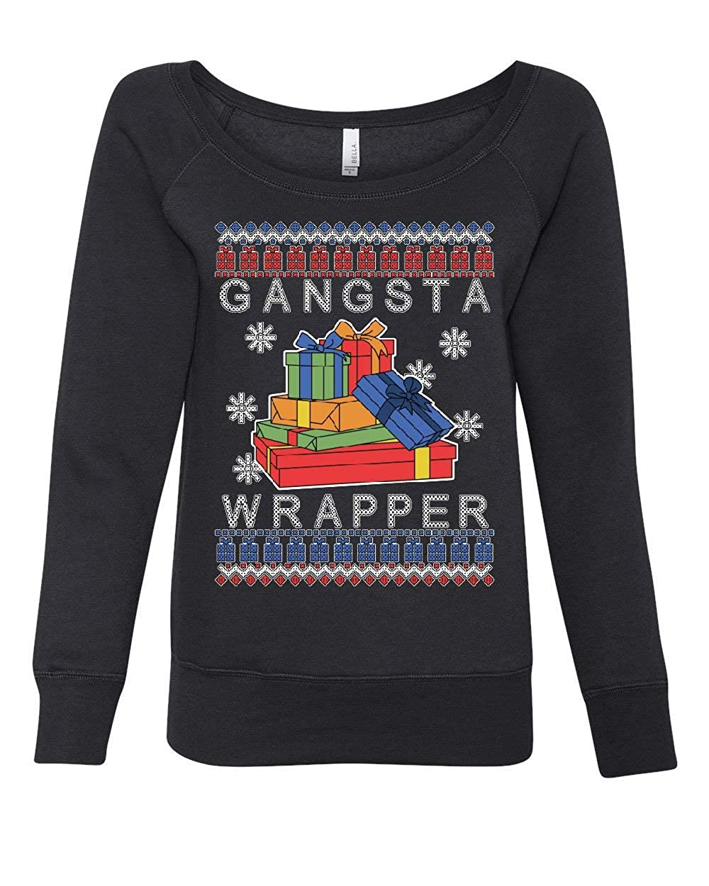 Tee Hunt Gangsta Wrapper Ugly Sweater Womens Sweatshirt Merry Jolly Christmas Xmas