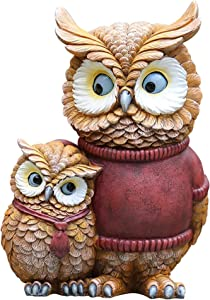 MAHONGQING Sculpture Owl Parent-Child Statue Resin Sculpture Family Garden Decoration Statuette 9.84 Inches High Courtyard Lawn Crafts Ornaments Statues
