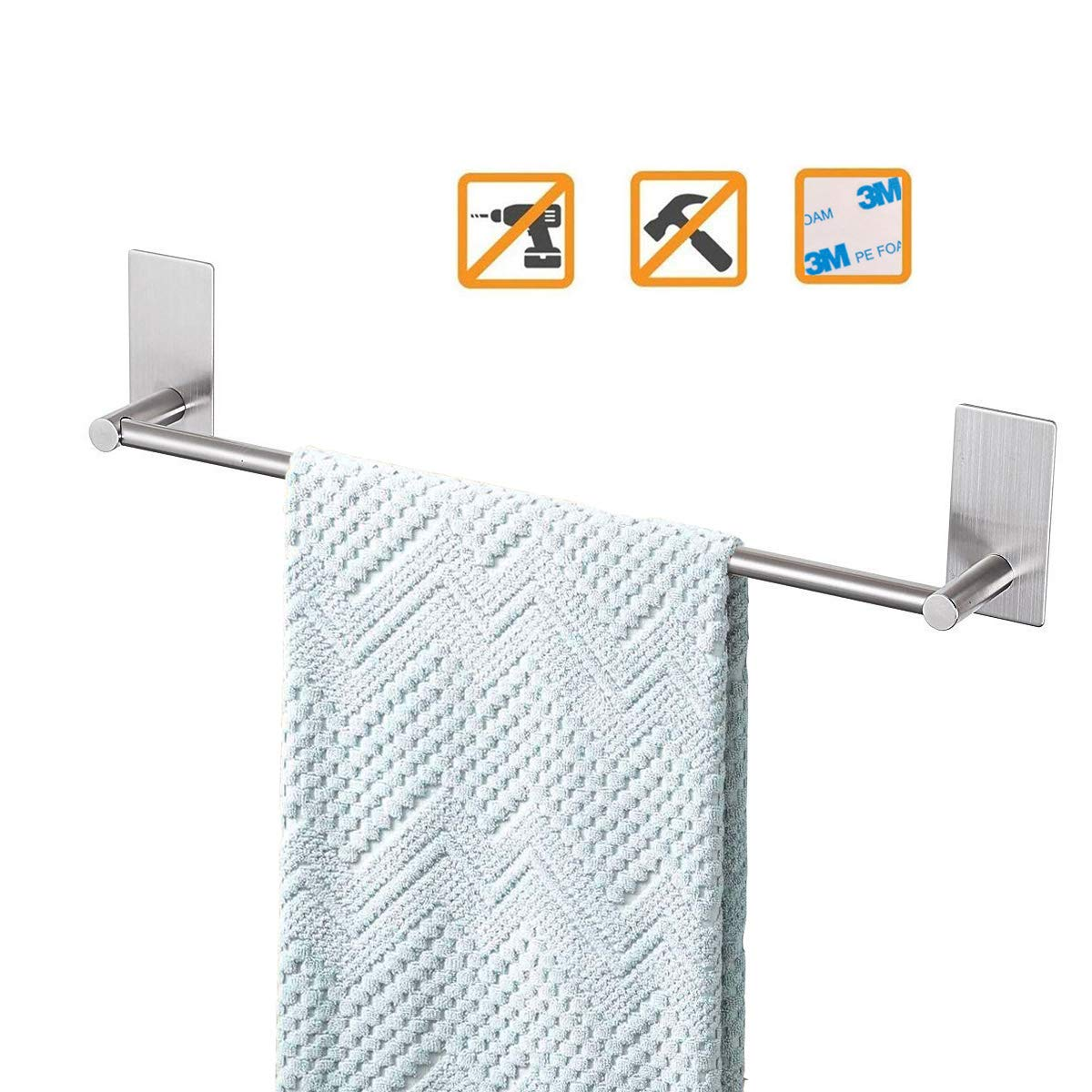 Bathroom Towel Bar 16inch, Easy Install with Self-Adhesive, NO Drilling on Walls, Premium SUS304 Stainless Steel - Brushed by Songtec (Image #1)
