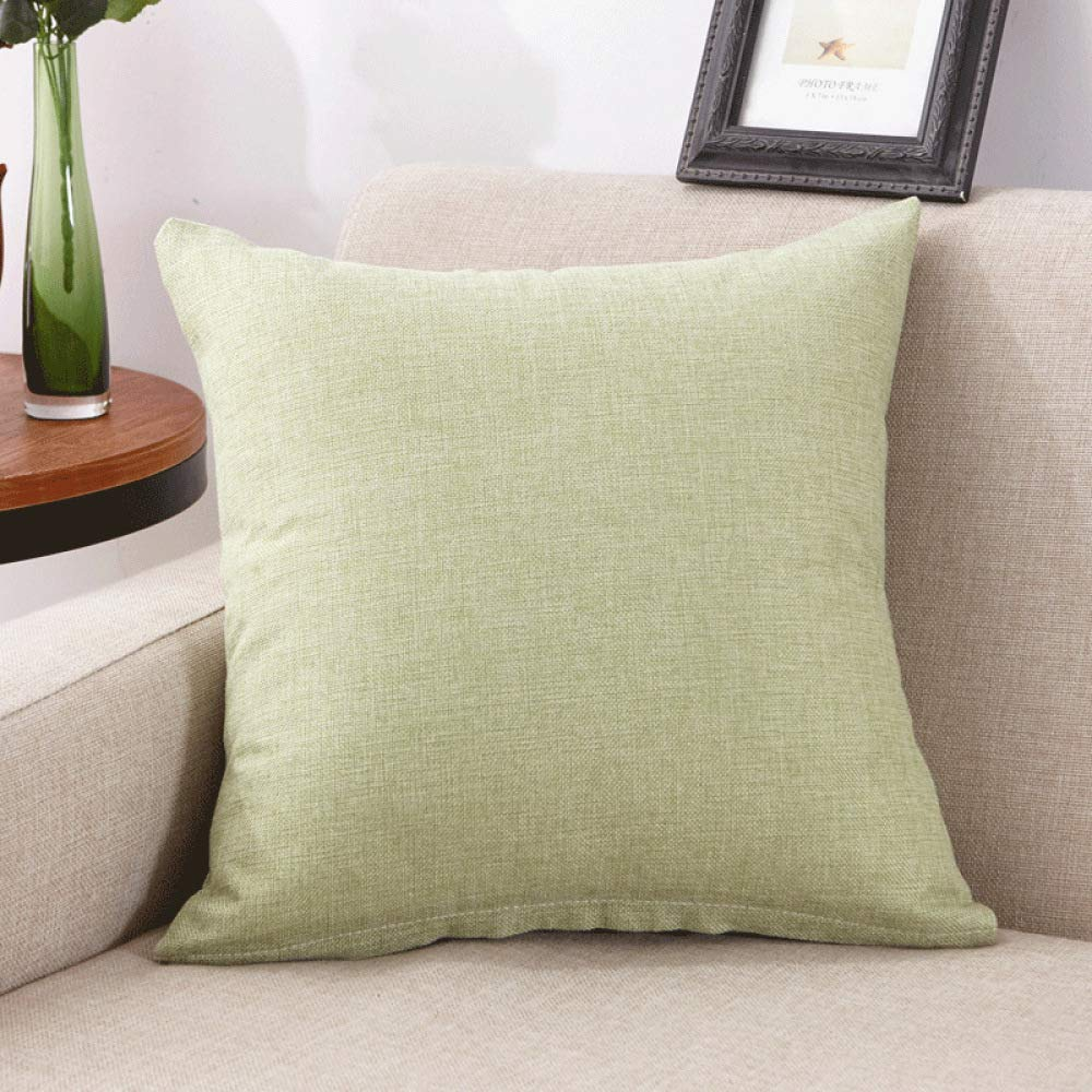 FASTCXV Solid Color Linen core Pillow Cushion Office Pillow Matcha Green 4040cm (Set + core) by FASTCXV