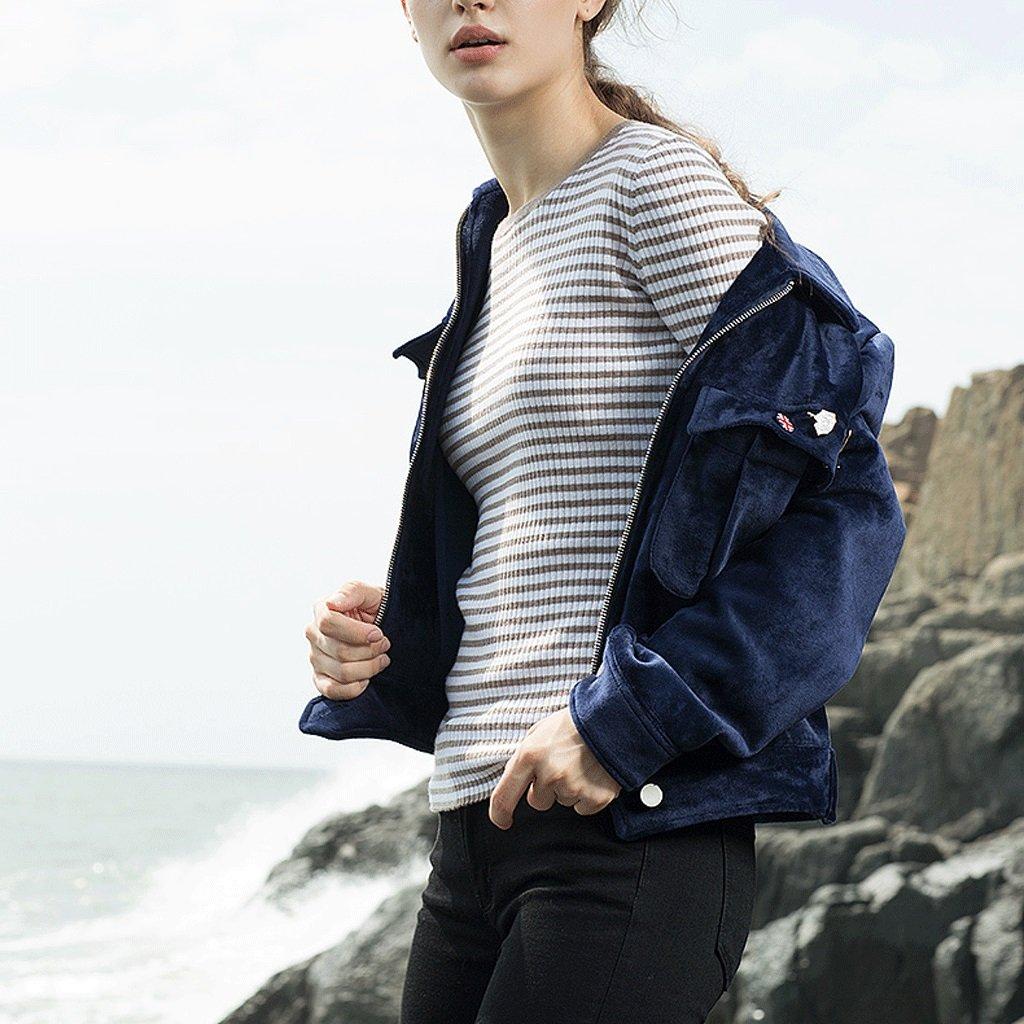 LI SHI XIANG SHOP Autumn short coat female Hong Kong style jacket shirt baseball clothing (Color : Blue, Size : M) by LI SHI XIANG SHOP (Image #3)