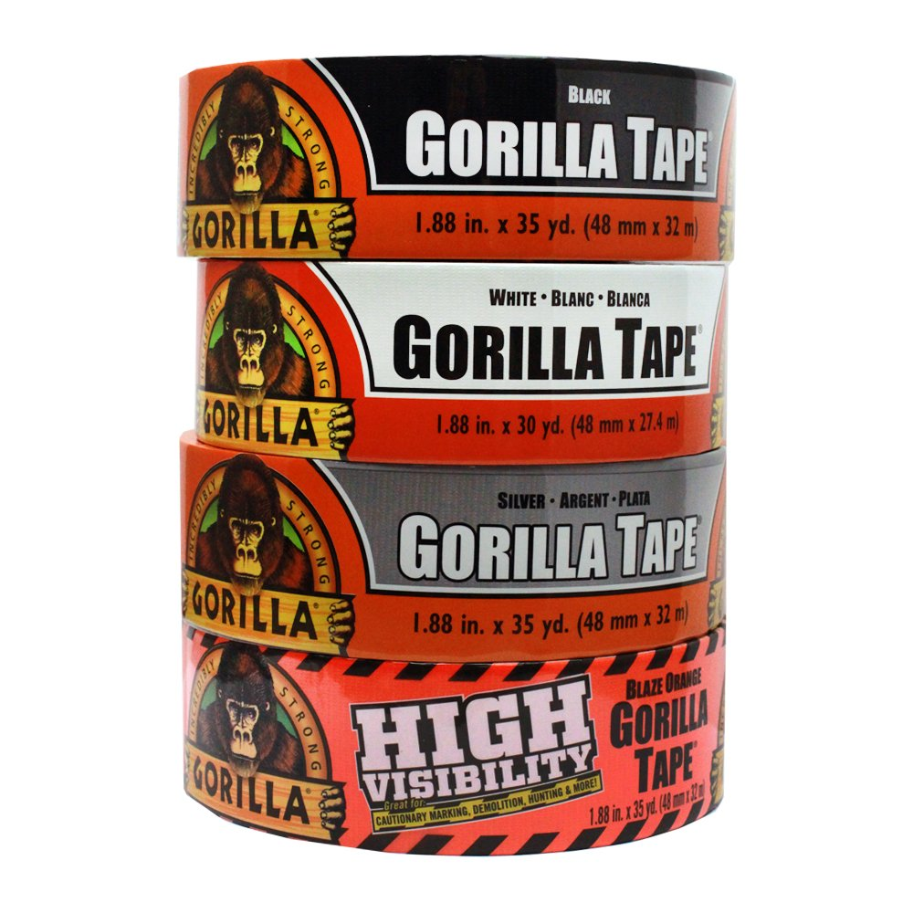 White Silver and Blaze Orange Duct Tape The Gorilla Glue Company 98084 Gorilla Tape Large Roll Tough Pack including Black