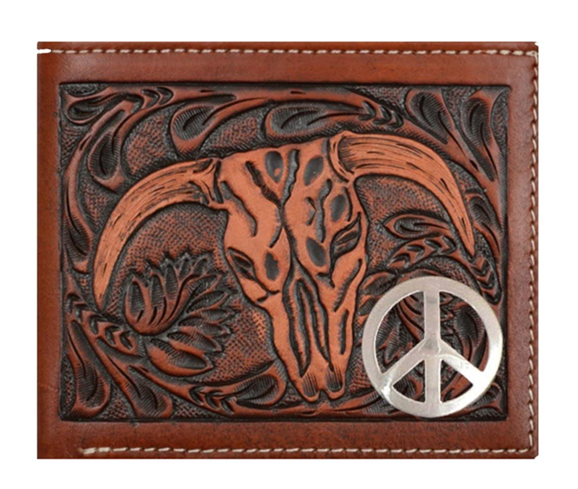 Custom 3D Belt Company New Peace Sign Long Brown and Tan Cow Skull Wallet