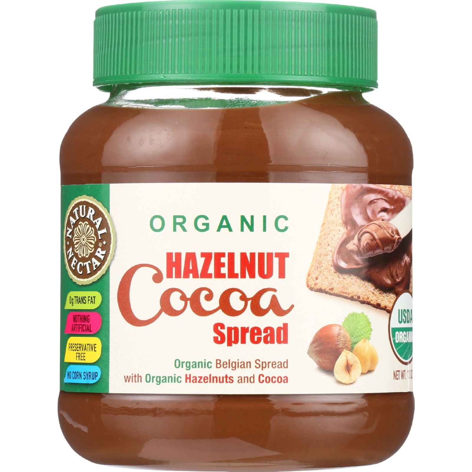 Natural Nectar Organic Hazelnut Cocoa Spread, 13 Ounce - 12 per case.