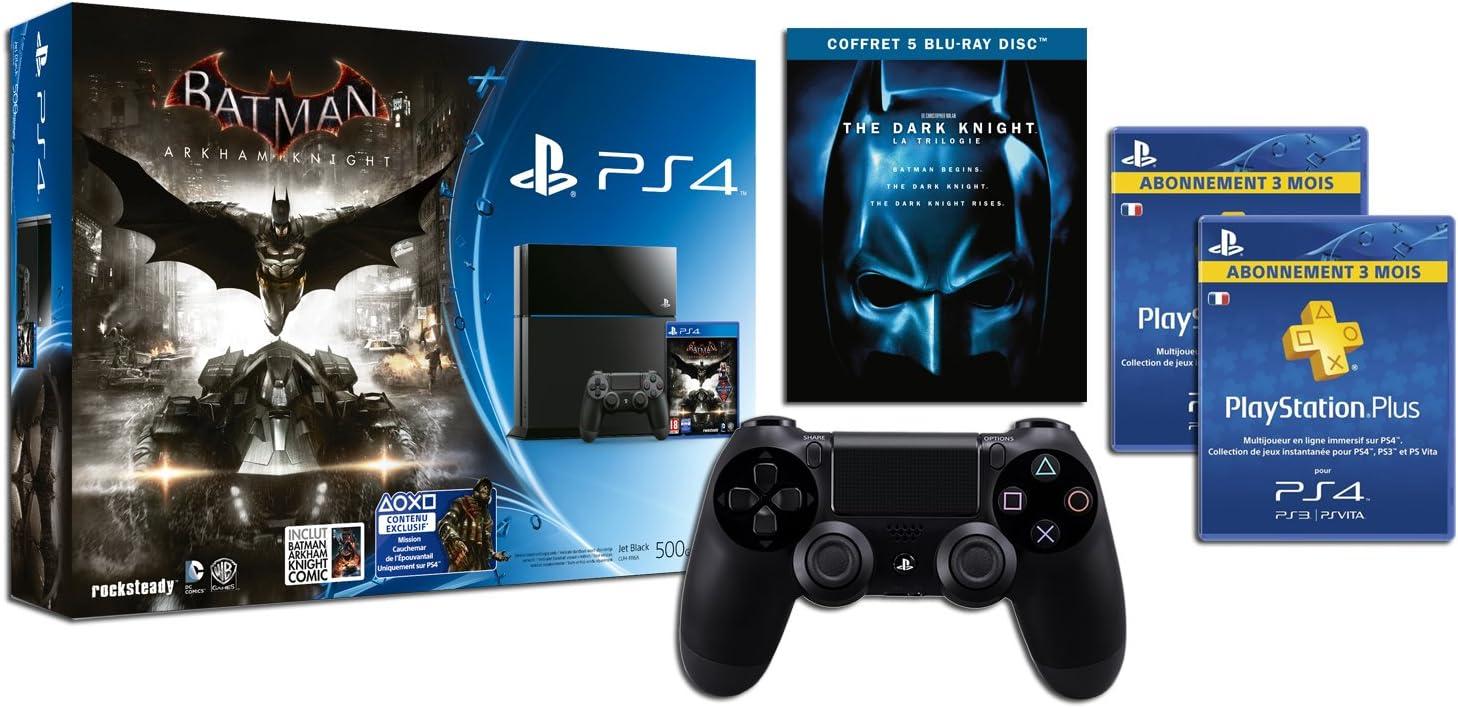 Console Playstation 4 + Batman Arkham Knight + Deuxième Manette + Ps Plus 6 Mois + Trilogie Blu-Ray The Dark Knight + Comics [Importación Francesa]: Amazon.es: Videojuegos