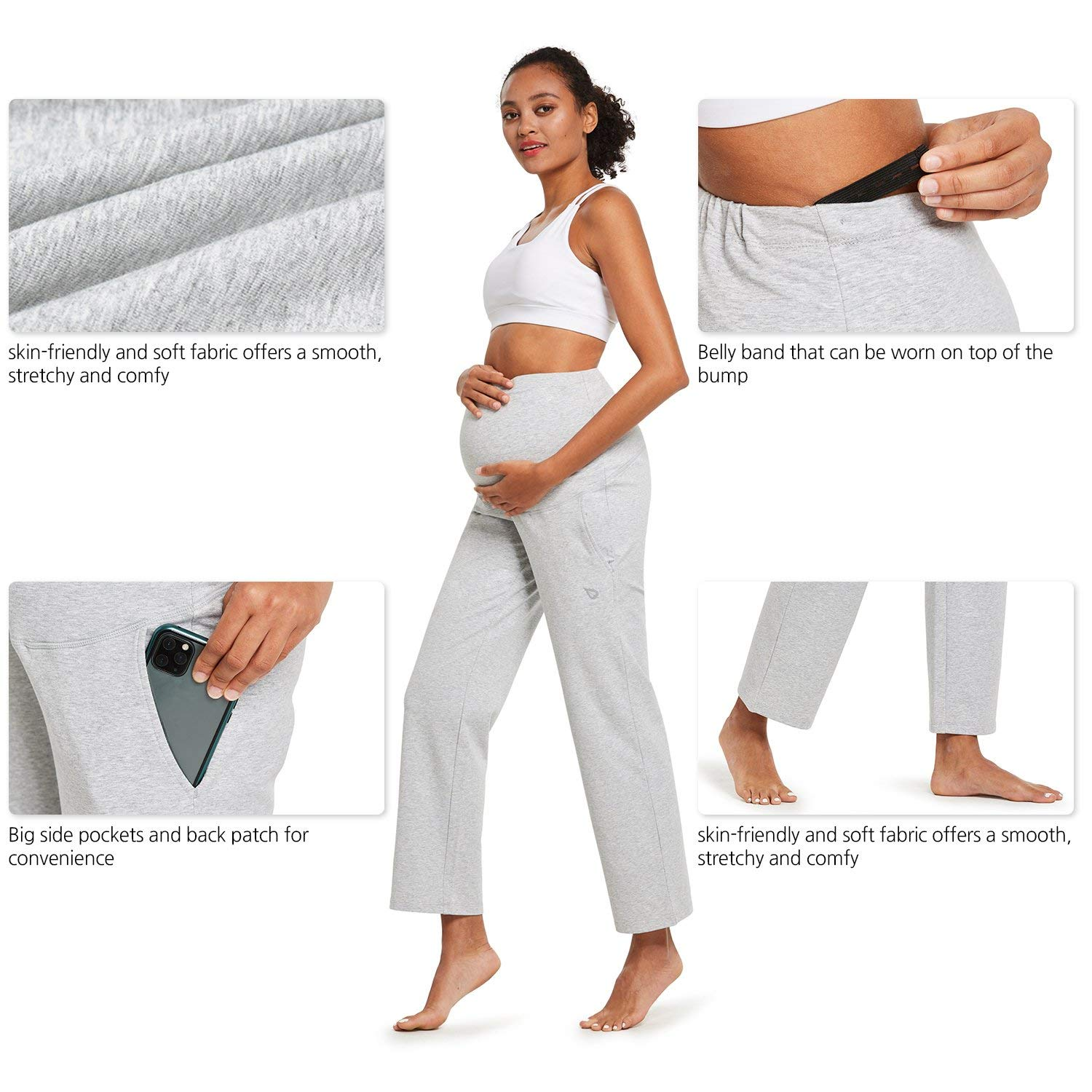 BALEAF Womens Active Yoga Maternity Sweatpants Comfy Stretch Wide Straight Pregnancy Lounge Sweat Pants