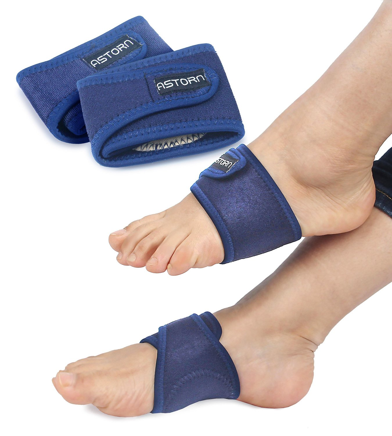 Foot Pain Relief Arch Support Brace for Women & Men Set of 2 | Compression Arch Support Sleeves with Comfort Gel Cushions | Adjustable Plantar Fasciitis, Bunion and Arch Pain Relief Brace by Astorn