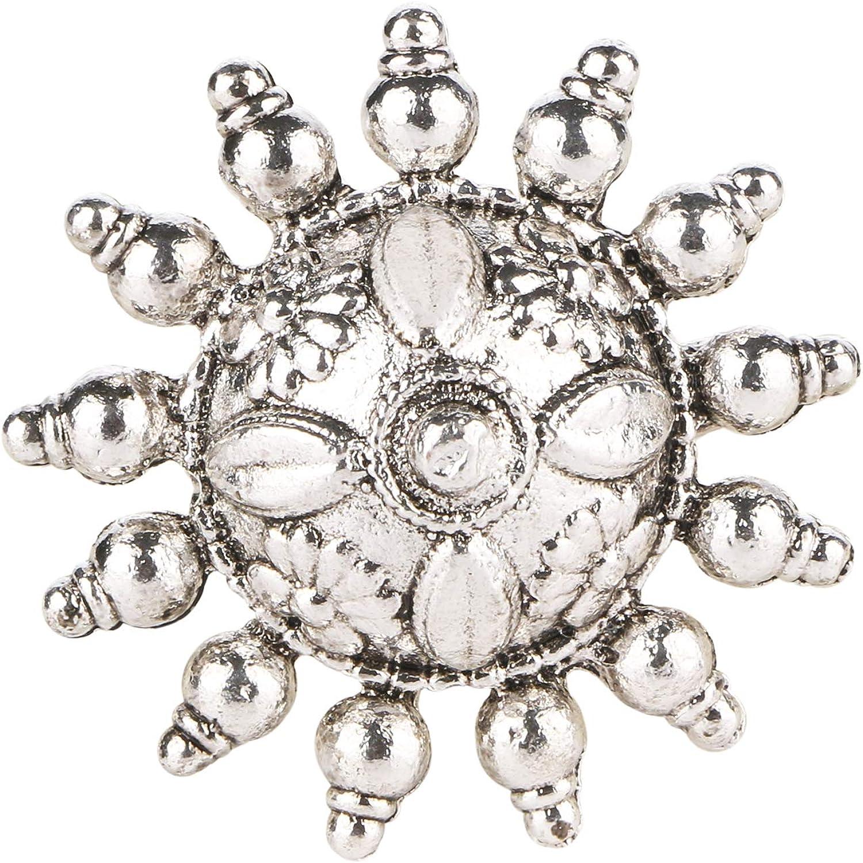 Vintage Floral Adjustable Ring Black /& Silver Boho Statement Ring