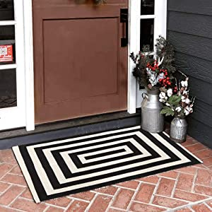 """Seavish Indoor Outdoor Doormats, 23.6"""" x 35.4"""" Black and White Ivory Striped Square Rug Handmade Woven Runner Farmhouse Rug, Machine Washable Small Carpet Welcome Mat Layering Rug Front Porch Mat Rug"""