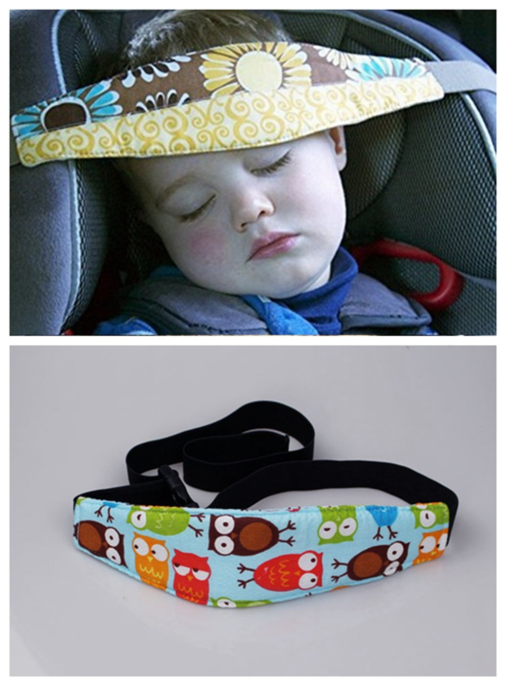 IreVoor Baby Kids Car Seat Head Support Neck Relief Band With Adjustable Belt Blue Owl