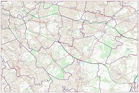 Map South East London.Postcode Street Map South East Central London Colour