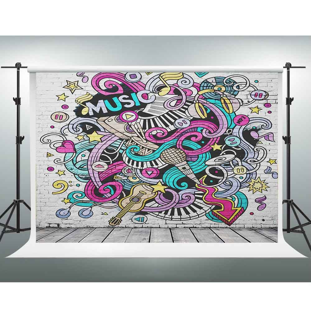 Gesen音楽Backdrop 10 x 7ft抽象ウォールペイントグレー木製床写真背景のテーマパーティーStudioをチューブ背景写真ブース小道具lxge271   B07FXPGQN4