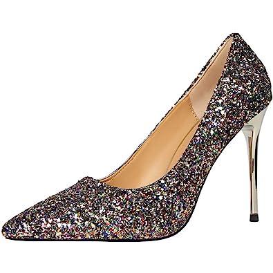 Sexy Glänzend Pailletten Hochzeit High Heel Schuhe Von BIGTREE Damen Spitze Zehen Kleid Pumps Gold 33 EU 9Owoc6hO07