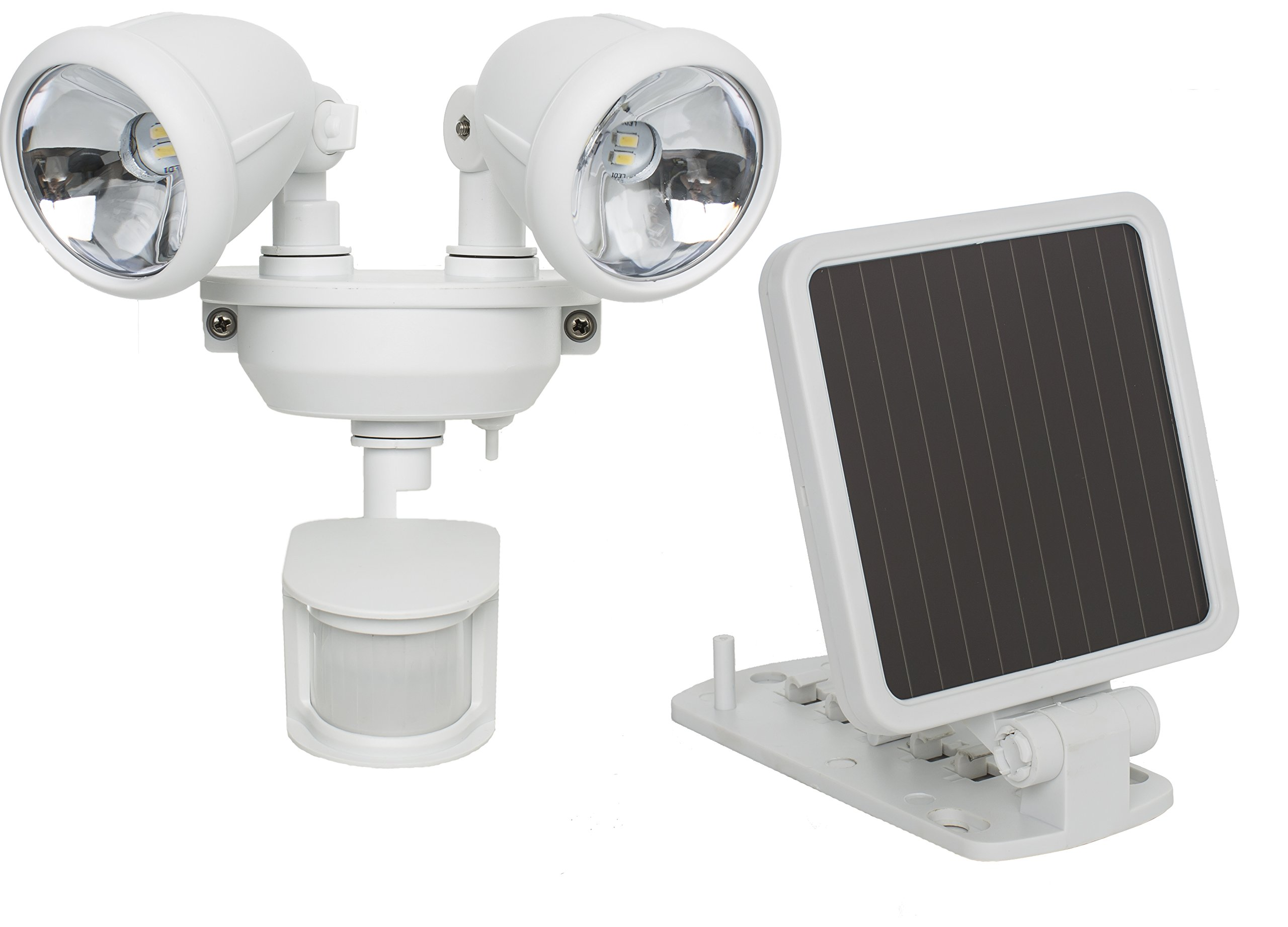 MAXSA Solar-Powered, Motion-Activated Dual Head Security Spotlights for lighting up Outdoor Spaces, White 44217