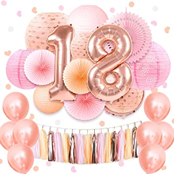 NICROLANDEE Coral Pink Sweet 18th Birthday Party Supplies 40inch Rose Gold 18 Number Foil Balloon Hanging