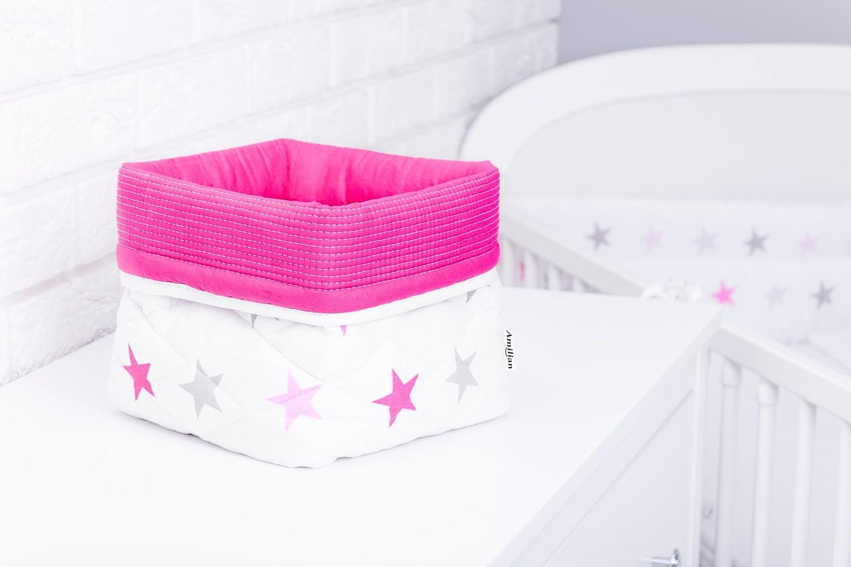 Amilian® Aufbewahrungsbox Körbchen ca. 20 x 20 x 20 cm Stoffbox Organizer Windelspender Korb Sternchen groß rosa