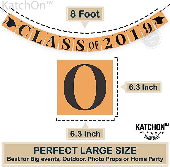 6.3 x 6.3 Inch SYNCHKG121902 KATCHON Class of 2019 Graduation Banner Large Classy and Unique Graduation Decorations for Graduation Party Supplies 2019 Brown Kraft Paper Decor and Black Ribbon
