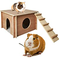 Hamiledyi Guinea Pig Hideout,Chinchilla Hut Small Animal Hideaway Wood House with Window for Hamster