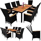 Deuba® Poly Rattan Sitzgruppe 8+1 Schwarz | 7 cm dicke Sitzauflagen | Tisch + Armlehnen aus Akazienholz | neigbare Rückenlehnen | wetterbeständiges Polyrattan [ Modellauswahl 4+1 / 6+1 / 8+1 ] - Gartenmöbel Gartenset Sitzgarnitur