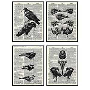Edgar Allan Poe Wall Art - Goth Gothic The Raven Home Decor for Office, Bathroom, Bedroom, Living Room - Shabby Chic Vintage Crows Decoration or Gift - Rustic Creepy 8x10 UNFRAMED Retro Poster Print