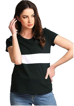 efc946142 AELOMART Women's Cotton Round Neck Green Half Sleeve Top(AWT4054-P) (Green