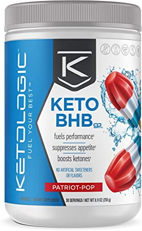 KetoLogic BHB Exogenous Ketones Powder + Electrolytes + Patented goBHB® for Max Results - Ketones Drink for Women & Men - Amplify Ketosis to Utilize Fat for Energy - 30 Servings - Patriot Pop