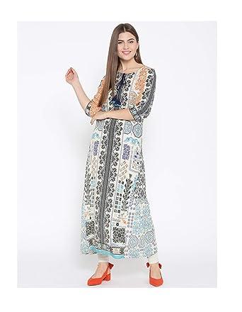 acf95150d7e4c Amazon.com: Hiral Designer Mall Long kurti Indian Blue & Off-White ...