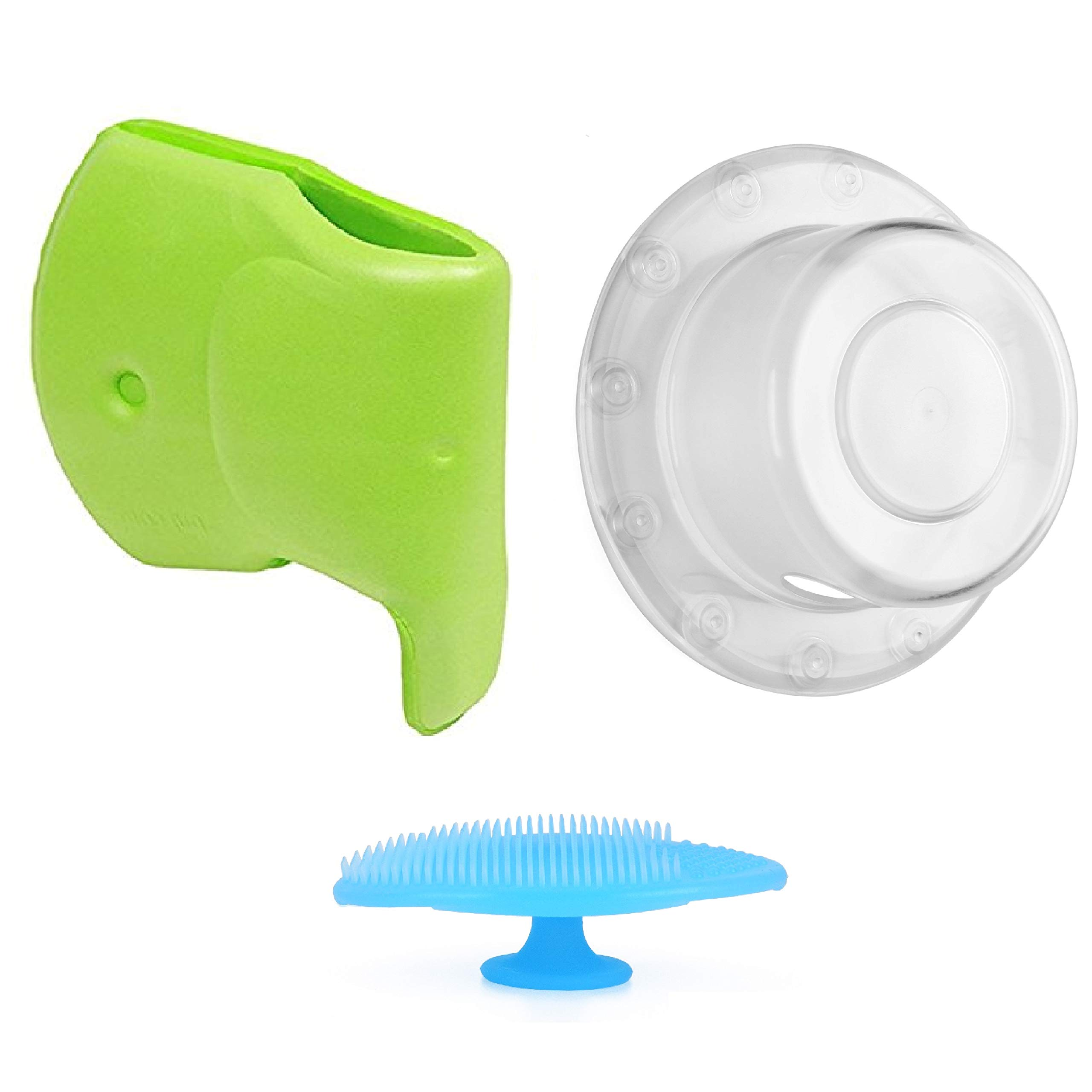 Zubree Baby Bath Safety Set: Bath Faucet Cover and Trip-Lever Cover, Plus Bonus Gift Silicone Baby Scrubber (3 Piece Set)