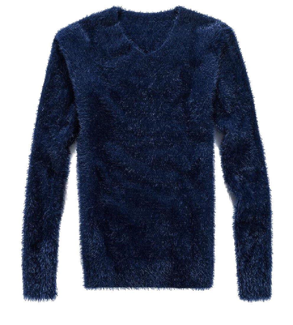 BabyYoungMen BabyYoung Mens Solid V Neck Velvet Long Sleeve Warm Pullover Sweater Outwear
