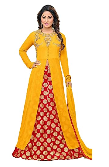 c02143e8a5 INFOTECH Women's YELLOW Georgette SEMI-STICHED Dress Material: Amazon.in:  Clothing & Accessories