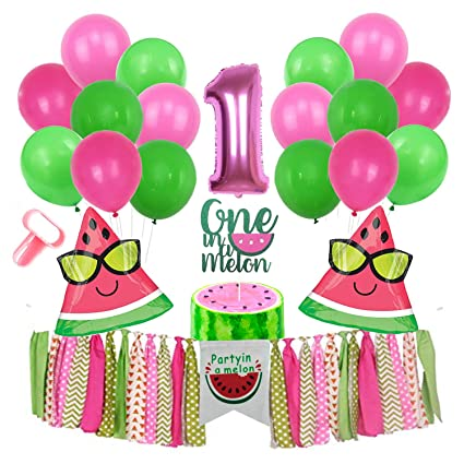 Inno-Huntz Watermelon Party Supplies 1st Birthday Kit with Balloons 22 Pcs Party In A Melon Party Decorations Baby Boy Girl Birthday Highchair Banner ...