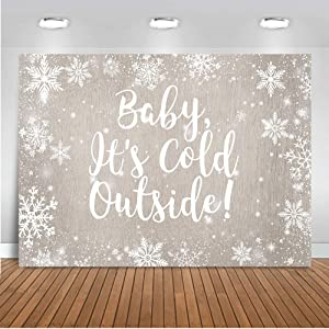Mocsicka Winter Baby Shower Backdrop Baby It's Cold Outside Party Decorations Banner 7x5ft Winter Wonderland Birthday Photography Background