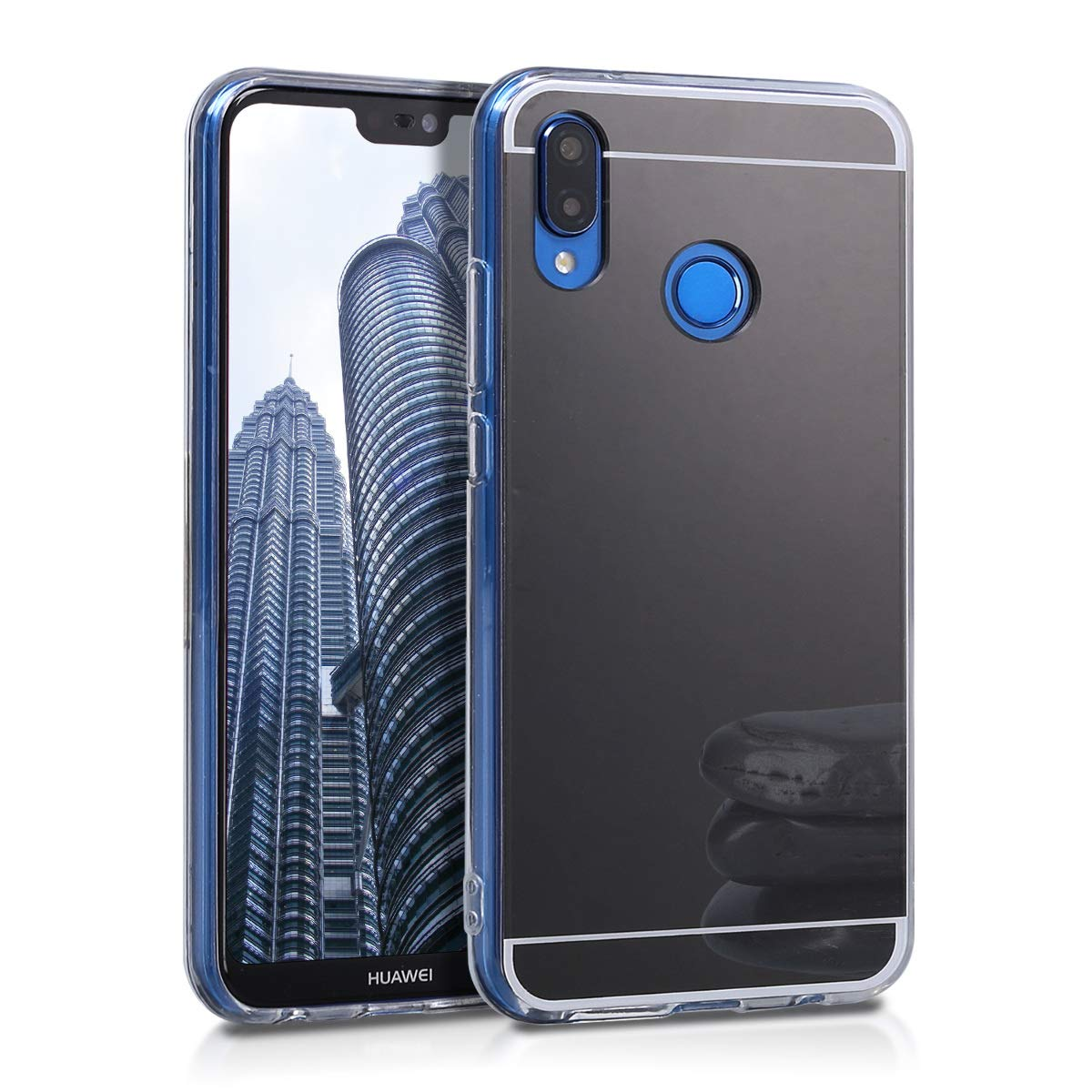 kwmobile Mirror Case for Huawei P20 Lite - TPU Silicone Bumper Protective Cover Reflective Back Case - Black