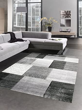 Moderner Teppich Kurzflor Wohnzimmerteppich Konturenschnitt Karo