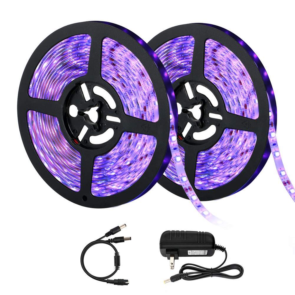 IP65 Waterproof UV Black Light Strip, 33ft/10m LED Black Light Ribbon Kit, 36W 600 Units UV Lamp Beads 12V Black Light Stripfor Stage Lights, Birthday, Fluorescent Dance Party, UV Lighting