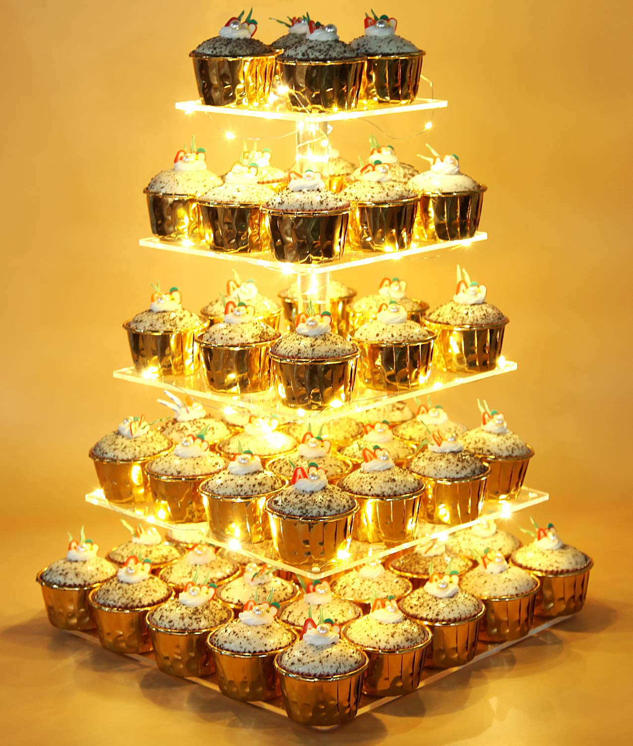 Vdomus Pastry Stand 5 Tier Acrylic Cupcake Display Stand with LED String Lights Dessert Tree Tower for Birthday/Wedding Party by Vdomus