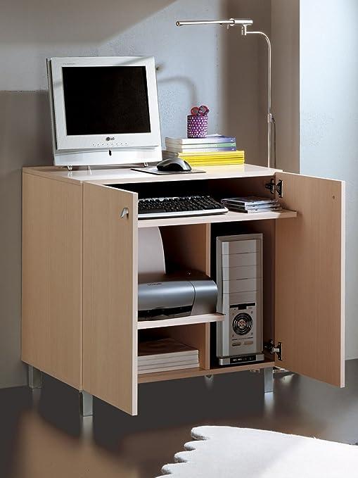 Mesa multimedia con puertas con varios estantes y compartimentos ...