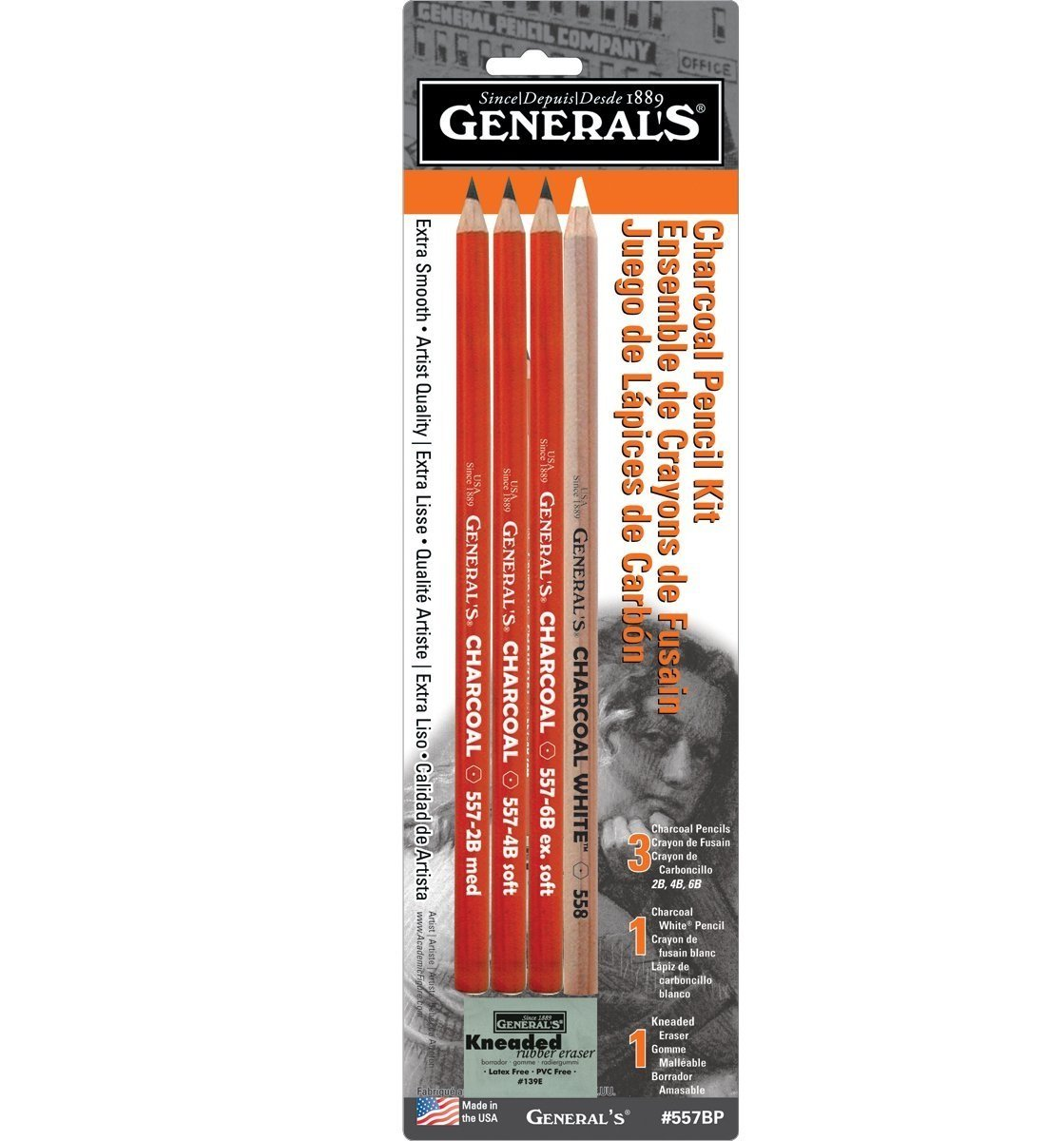 General Pencil 321742 557BP Charcoal Pencil Kit with Eraser, 0.12