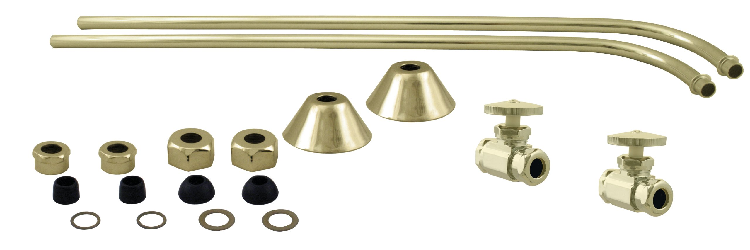 Westbrass 1/2'' IPS Stops & Single Offset Bath Supply with Round Handles, Polished Brass, D135-108-01 by Westbrass (Image #1)