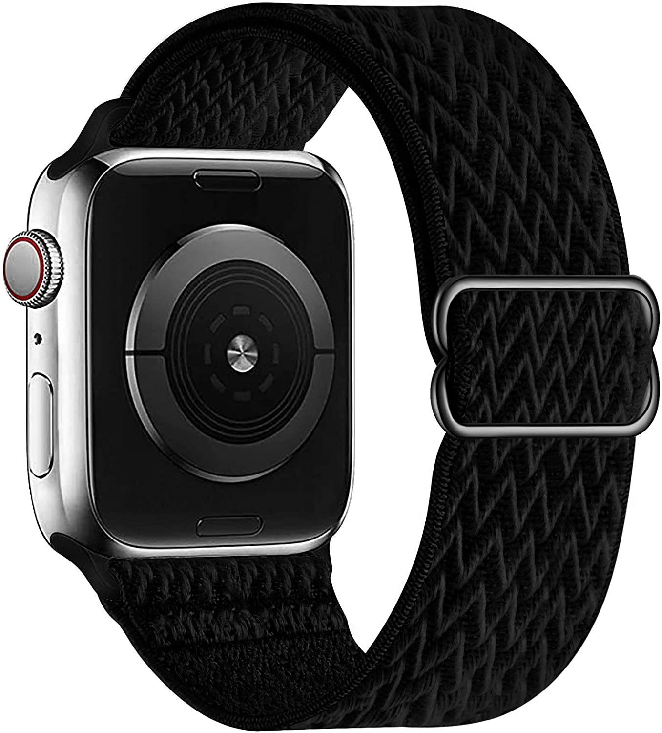 OHCBOOGIE Stretchy Solo Loop Strap Compatible with Apple Watch Bands 38mm 40mm 42mm 44mm ,Adjustable Stretch Braided Sport Elastics Weave Nylon Women Men Wristband Compatible with iWatch Series 6/5/4/3/2/1 SE,Black,38/40mm
