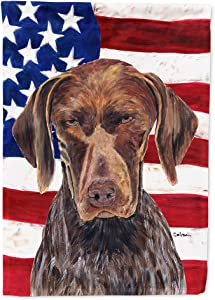 Caroline's Treasures SC9034GF USA American Flag with German Shorthaired Pointer Flag Garden Size, Small, Multicolor