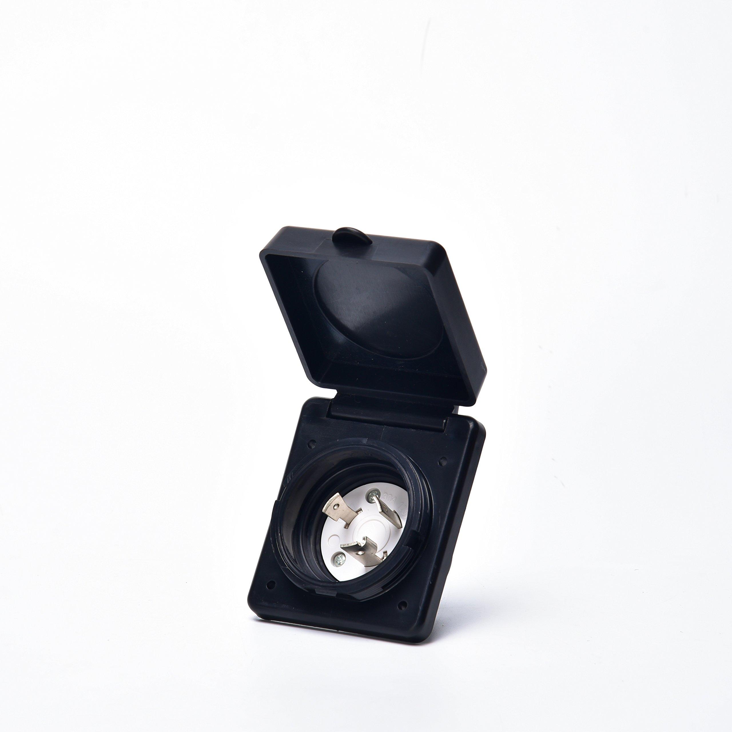 Trek Power 30A RV Power Twist Lock Inlet(black)