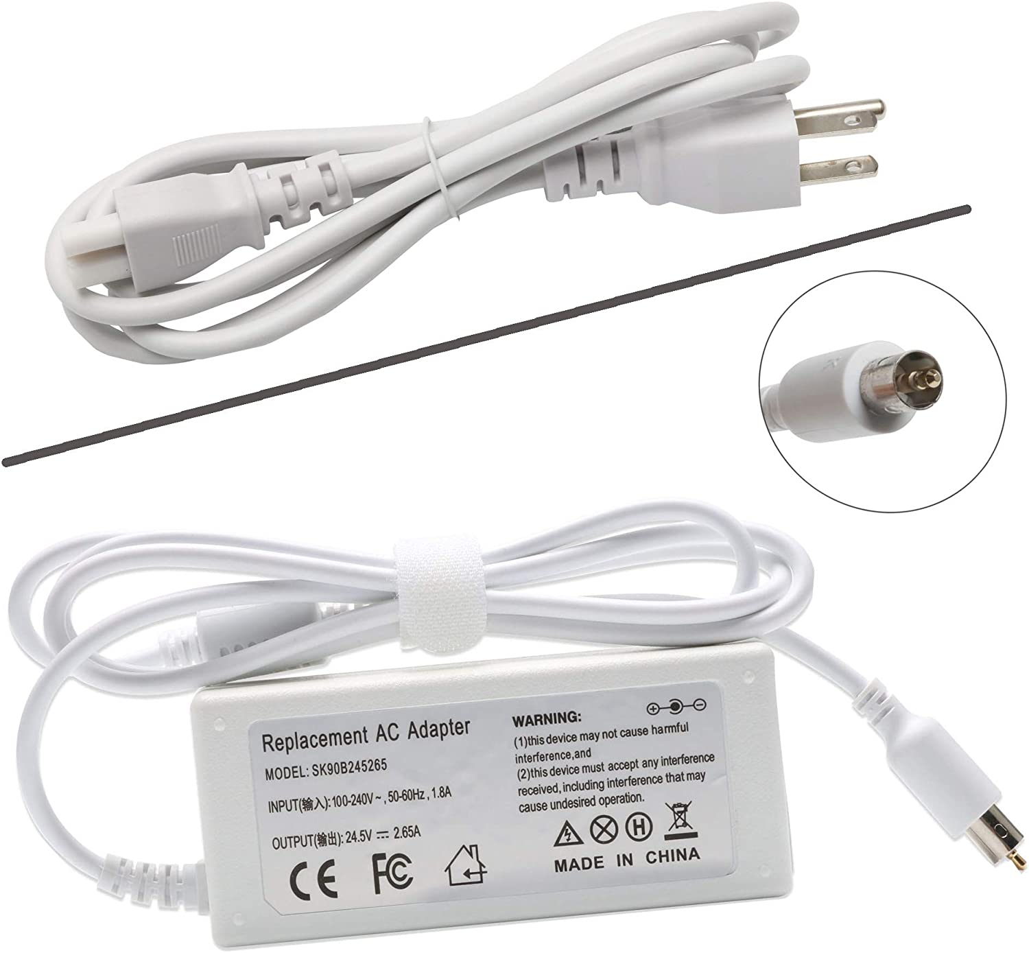 24.5V 2.65A 65W Replacement Ac Laptop Adapter Charger Replacement for Apple Powerbook G4,iBook,iBook G4,White